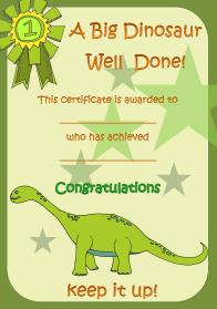 Dinosaur Reward Charts & Certificates - Kids Puzzles and Games