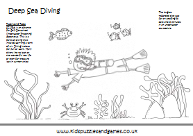 Worksheet under on colouring pages for Deep sea diver coloring page
