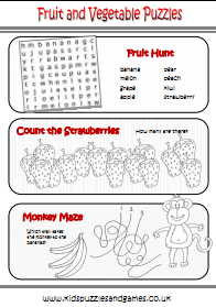Fruit & Vegetable Puzzle Sheets - Kids Puzzles and Games