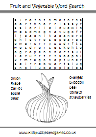 Fruit and Veg Word Search - Kids Puzzles and Games