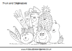 Fruit and Vegetable Colouring Sheets - Kids Puzzles and Games