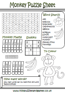monkey puzzle sheet kids puzzles and games - Kids Fun Activity Sheets