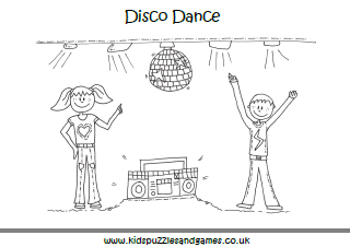 Disco Dance Colouring Page Kids
