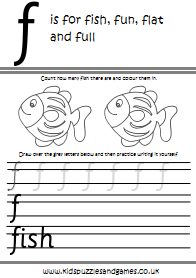 Handwriting Practice Worksheet F - Kids Puzzles and Games