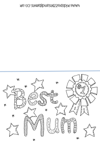 Best Mum Motheru0027s Day Colouring Card