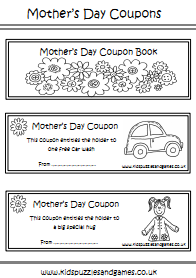 Mother's Day Coupon Book Colouring Sheet 1 – includes front cover ...