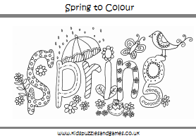 Spring Colouring Sheets - Kids Puzzles and Games