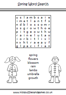 Spring Word Search - Kids Puzzles and Games