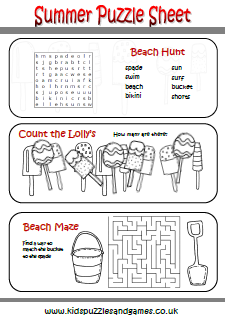 Summer Kids Puzzles and Games
