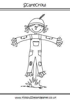 Scarecrow coloring page Kids