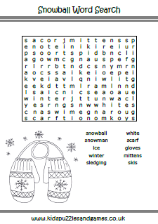Winter Word Search - Kids Puzzles and Games