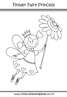 Flower Fairy Princess Coloring Page  Kids Puzzles and Games