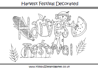 harvest festival decorated coloring page - Harvest Coloring Pages Printables