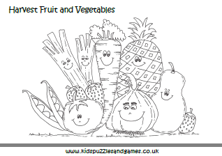 harvest fruit and vegetables coloring page