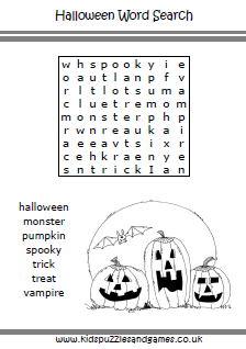 halloween word search easier - Halloween Word Searches For Kids