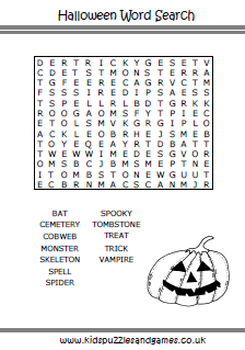other word search - Halloween Word Searches For Kids