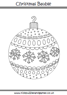 Christmas colouring sheets kids puzzles and games for Christmas baubles templates to colour