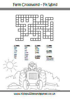 Farm Word Fit Crossword