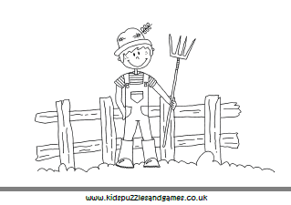 Farmer In Field Colouring Page Kids Puzzles And Games