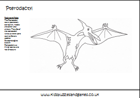 Pterodactyl Coloring Kids Puzzles and Games