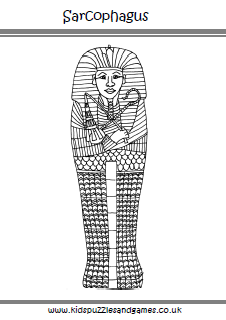 Egyptian Sarcophagus Colouring Page - Kids Puzzles and Games