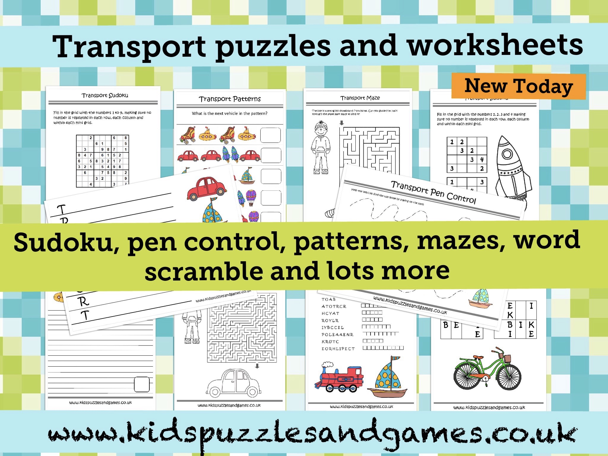 All new transport puzzles and worksheets