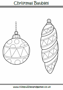 baubles outlined colouring page