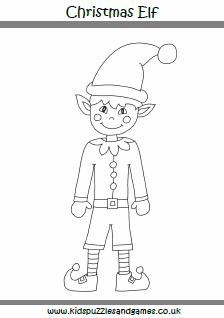 christmas elf colouring page - Christmas Elf Games