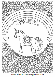 Unicorn And Rainbows Mindful Colouring Kids Puzzles And
