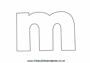 picture relating to M&m Coupon Printable called M Determine Lowercase Colouring Sheet - Little ones Puzzles and Game titles