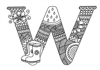W Mindful Colouring Sheet Kids Puzzles and Games