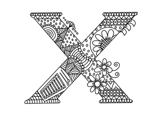 Letter X coloring pages, alphabet coloring pages (X letter words) for kids,  printable | Alphabet coloring pages, Lettering alphabet, Abc coloring pages | 226x320
