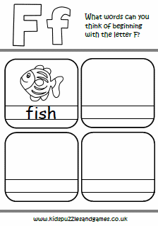 f words beginning with letter f kids puzzles and games