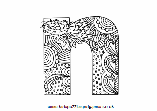 N Mindful Lowercase Colouring Sheet Kids Puzzles And Games