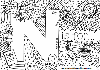 Letter N Colouring Sheets   Kids Puzzles and Games