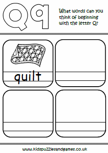 Words That Have The Letter Q.Letter Q Kids Puzzles And Games